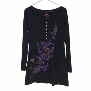 Johnny Was Embroidered Long Sleeve Boho Tunic Top